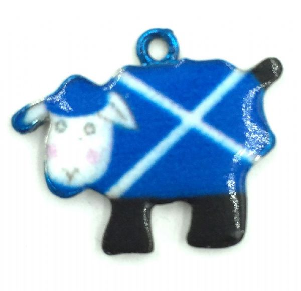 Scottish charm - Blue and white Saltire flag - Dolly the sheep - 17mm x 21mm